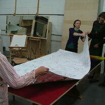 Big Draw - Lifting the monoprint off the inked table