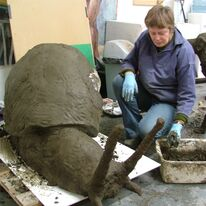 Garden Sculpture - Alison working on giant snail