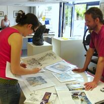 Open Studio - Cliff Wright with his prints and books