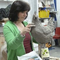 Mandy working on Chicken sculpture
