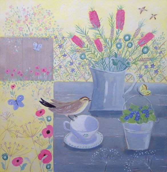 Garden Table with Chiffchaff