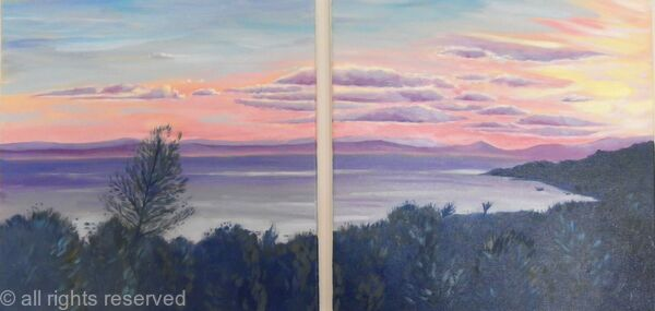 Sunset over the island Diptych