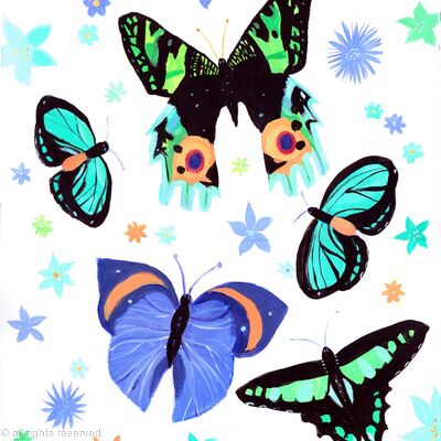 Blue and green butterflies