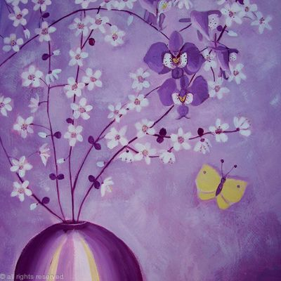 Purple orchids and blossom
