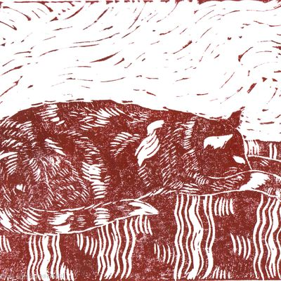 I've had enough now lino print