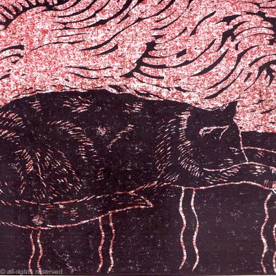 I've had enough now cat lino print