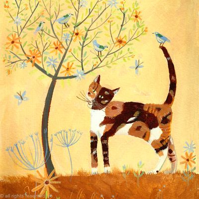 Calico cat with tree SOLD