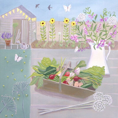 Garden Table with Trug and Sweet Peas