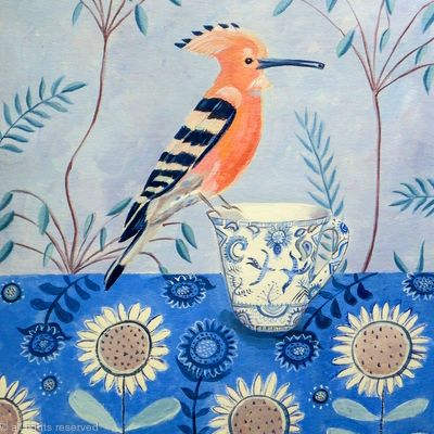 Hoopoe on a tea cup SOLD