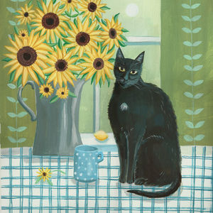Black Cat with Sunflowers