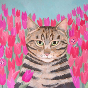 Tabby with Tulips SOLD