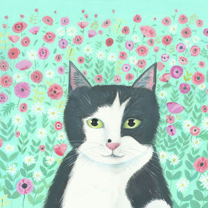 Kitty with Spring Flowers