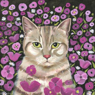 Kitty with Poppies