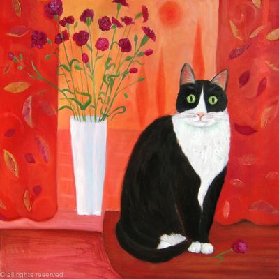 Cat with Carnations SOLD