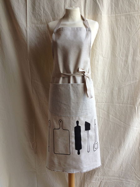New Print ' Rolling pin and Utensils'  print on linen apron