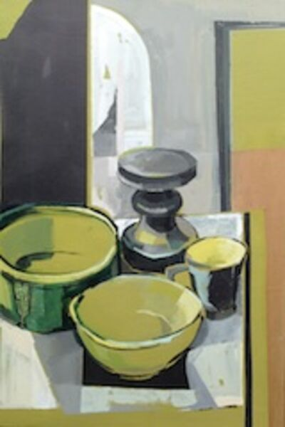 Green Pots and Candlestick