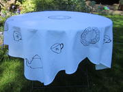 Table cloth with multiple limited edition ' tea' prints