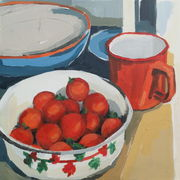 Cherry Tomatoes and Vintage Enamel