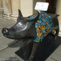 Pig in Clover decorated sculpture at the Assembly Rooms in Bath