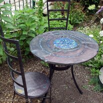 Blue Pool Gold Edition handmade garden table and chairs