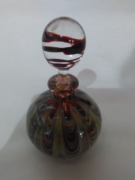 perfume bottle clear crystal ball with brown swirl green and brown floral base