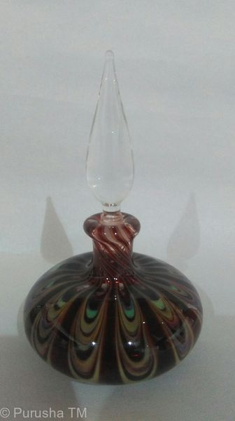 perfume bottle crystal clear tear stem with brown green purple floral base