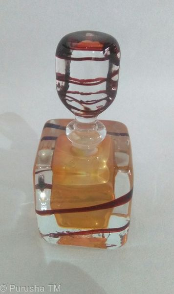 perfume bottle clear stem with brown swirl square base gold brown fleck