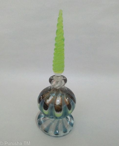 perfume bottle lime green swirl stem with clear green blue base