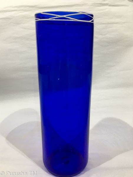 keith rowe blue glass cylinder with white lines