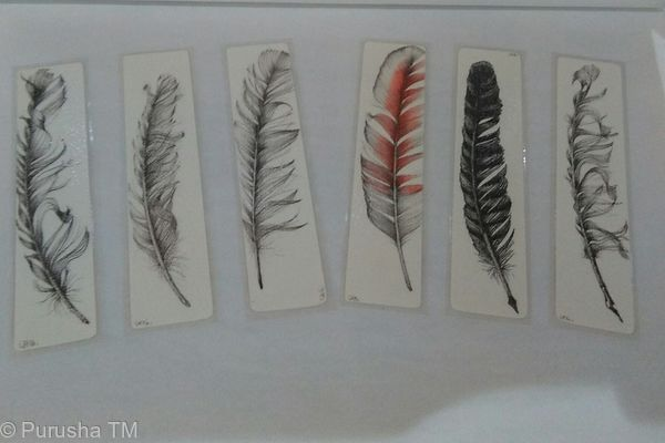 lee honey hand drawn feather book marks laminated