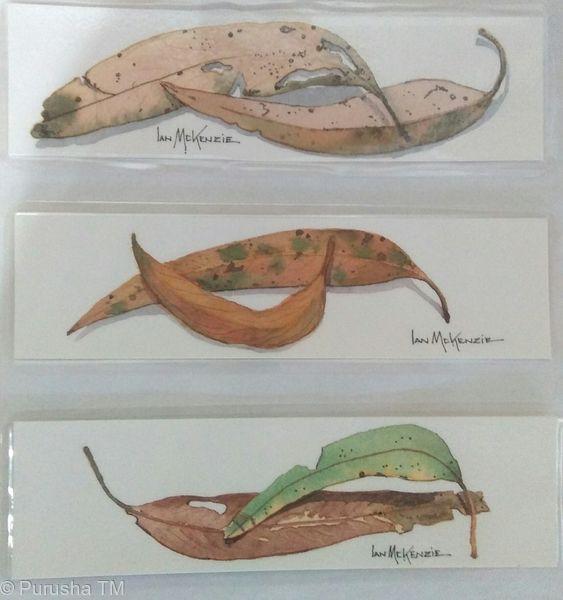 Ian McKenzie hand painted eucalyptus leaves