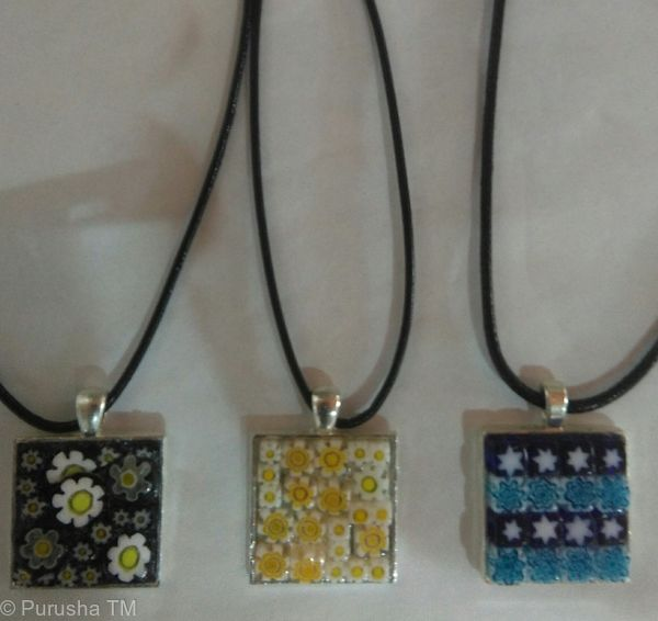 Joanne Virgo zinc alloy pendants ceramic glass mosaic neck lace