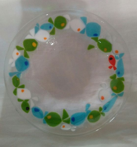 Pene Dade hand made plate fish slumped and fused glassware