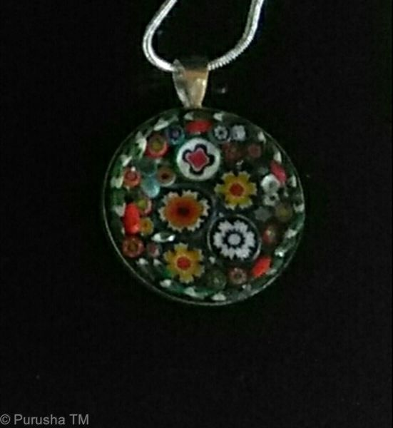 joanne virgo silver pendant ceramic glass mosaic  with silver chain and case