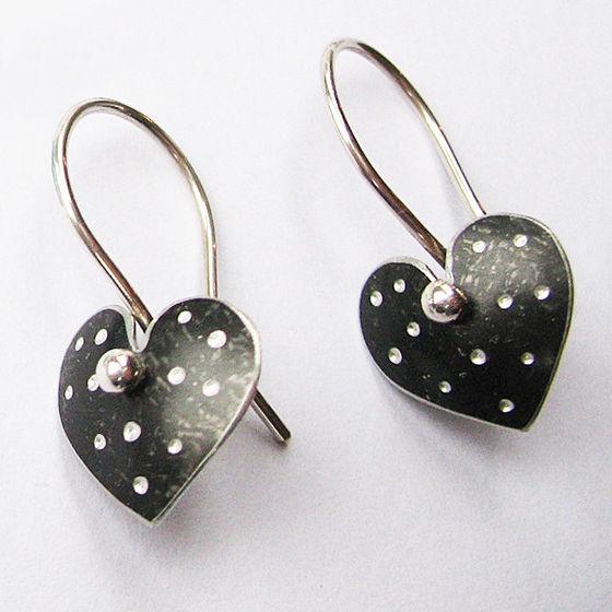 PD6 Polka dot heart drop earrings in black