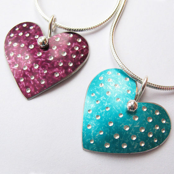 PD7 Polka dot heart pendants in berry and jade
