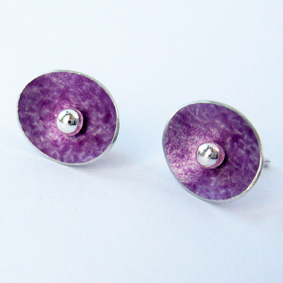 ES1 Concave oval stud earrings in mauve