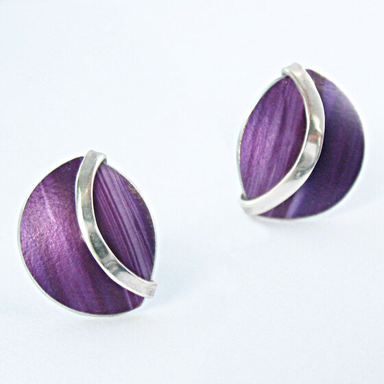 SH1 Half circle dome stud earrings with silver curve in purple