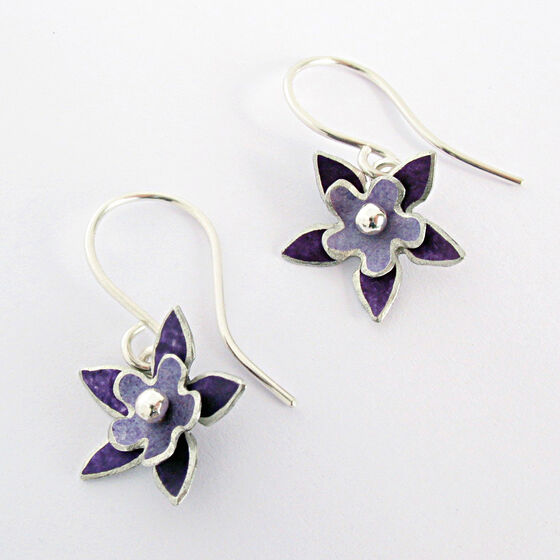 DH10 Double flower drop earrings in purple and lavender