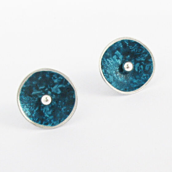 CD3 Single concave disc stud earring in petrol blue