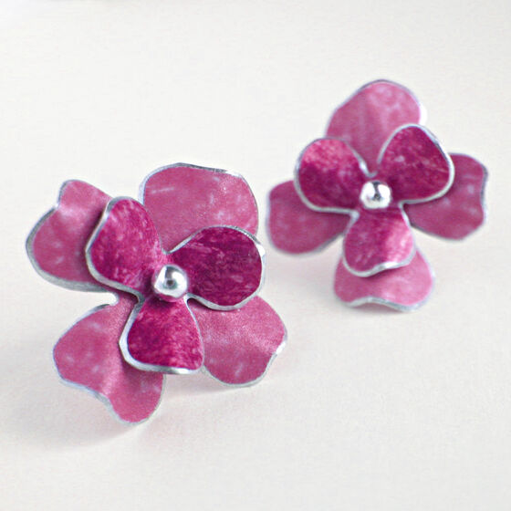 RS7 Double layer stud earrings in pink