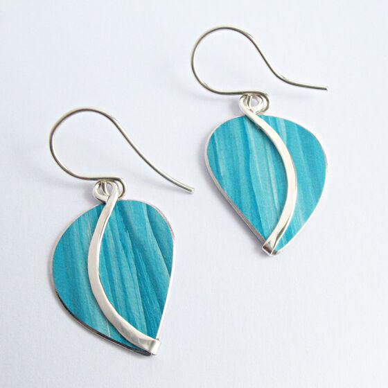 CL1 Curvy leaf drop earrings in petrol blue