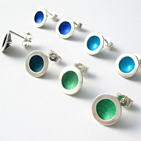 OR1 Silver circle stud earrings in petrol blue, green, royal blue and turquoise