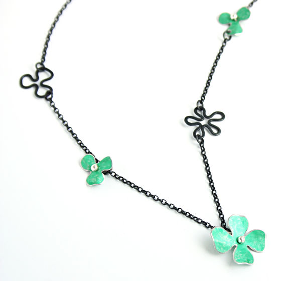 RS12 Oxidised silver rosa necklace in green