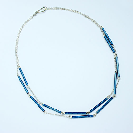 SL59 Royal blue 2 tiered tube necklace