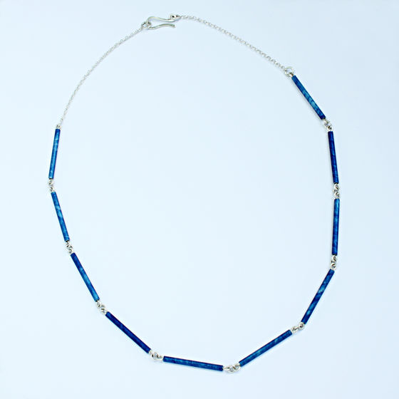 SL60 Royal blue and silver tube necklace
