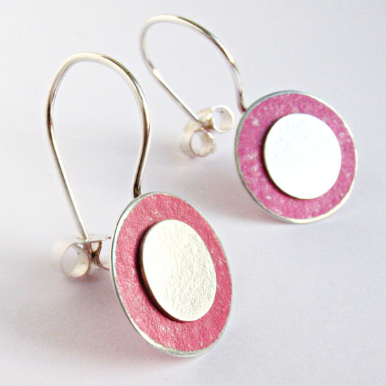 SL39 Pink and silver flat disc drop earrings