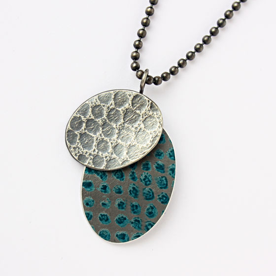 TS5 Oxidised silver and petrol spot print disc pendant