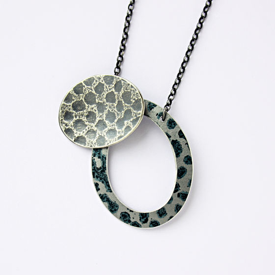 TS6 Oxidised silver disc and black spot hoop necklace