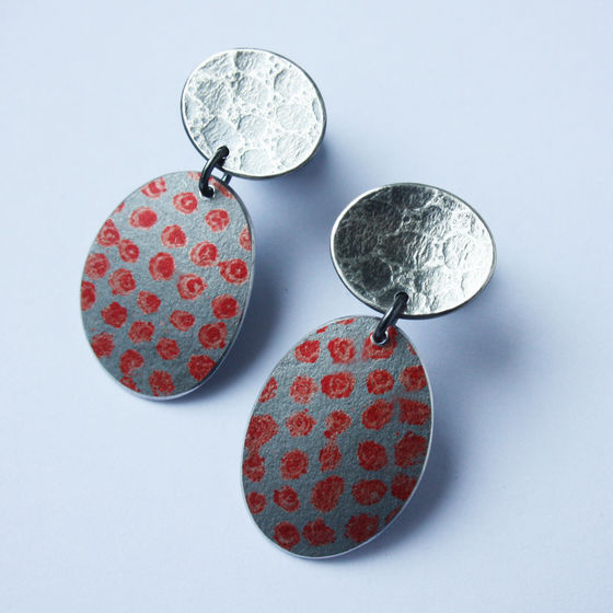 TS3 Oxidised version stud and drop earrings in red spot print